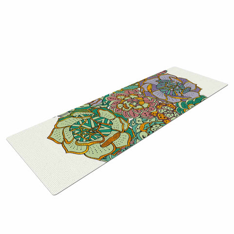 "Pom Graphic Design ""Succulent Love"" Green Orange Yoga Mat - KESS InHouse  - 1"