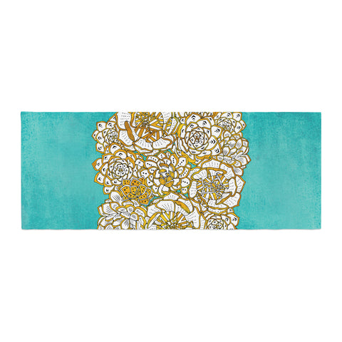 "Pom Graphic Design ""Bohemian Succulents II"" Teal Gold Floral Bed Runner - KESS InHouse  - 1"