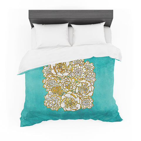"Pom Graphic Design ""Bohemian Succulents II"" Teal Gold Floral Featherweight Duvet Cover - KESS InHouse  - 1"