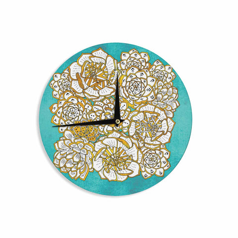 "Pom Graphic Design ""Bohemian Succulents II"" Teal Gold Floral Wall Clock - KESS InHouse"