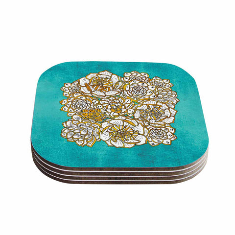 "Pom Graphic Design ""Bohemian Succulents II"" Teal Gold Floral Coasters (Set of 4)"