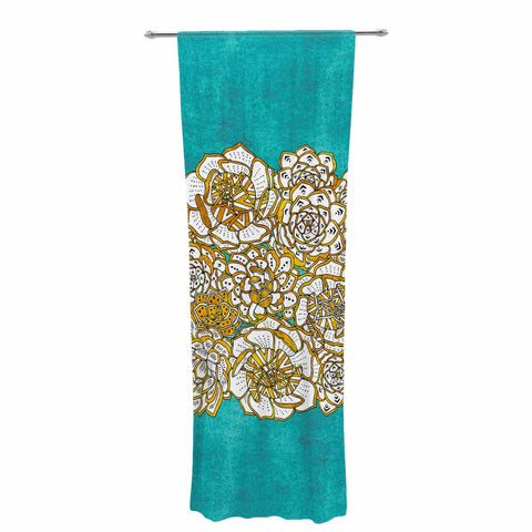 "Pom Graphic Design ""Bohemian Succulents II"" Teal Gold Floral Decorative Sheer Curtain - KESS InHouse  - 1"