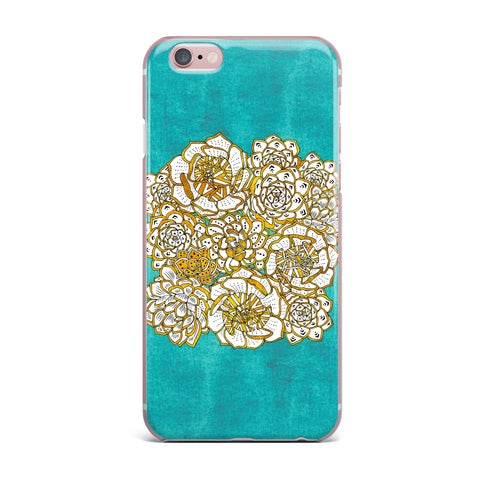 "Pom Graphic Design ""Bohemian Succulents II"" Teal Gold Floral iPhone Case - KESS InHouse"