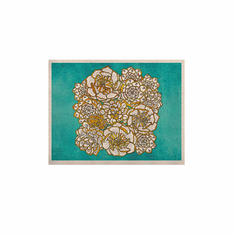 "Pom Graphic Design ""Bohemian Succulents II"" Teal Gold Floral KESS Naturals Canvas (Frame not Included) - KESS InHouse  - 1"