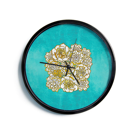 "Pom Graphic Design ""Bohemian Succulents"" Teal Gold Floral Modern Wall Clock"