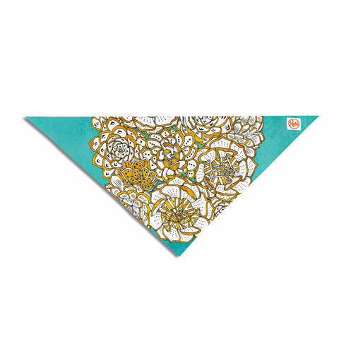"Pom Graphic Design ""Bohemian Succulents II"" Teal Gold Floral Pet Bandana - KESS InHouse  - 1"