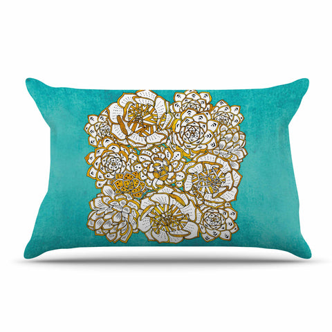 "Pom Graphic Design ""Bohemian Succulents II"" Teal Gold Floral Pillow Sham - KESS InHouse  - 1"