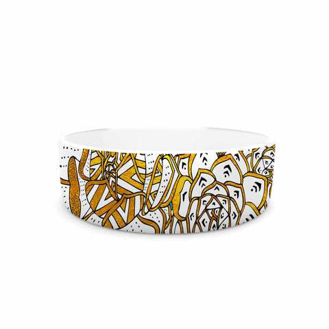 "Pom Graphic Design ""Bohemian Succulents II"" Teal Gold Floral Pet Bowl - KESS InHouse"