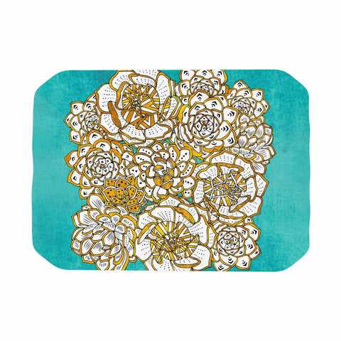 "Pom Graphic Design ""Bohemian Succulents II"" Teal Gold Floral Place Mat - KESS InHouse"