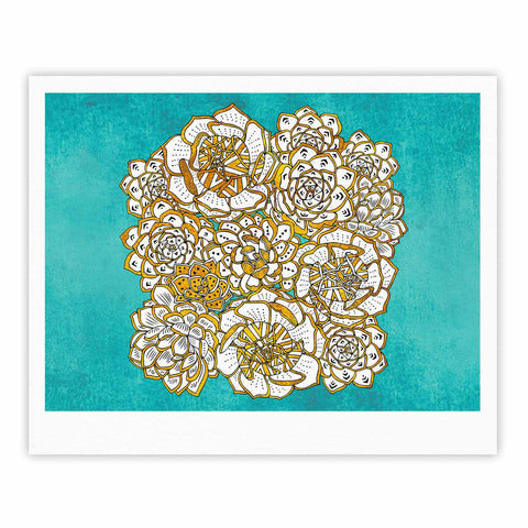 "Pom Graphic Design ""Bohemian Succulents II"" Teal Gold Floral Fine Art Gallery Print - KESS InHouse"