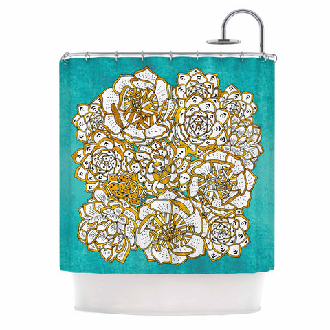 "Pom Graphic Design ""Bohemian Succulents II"" Teal Gold Floral Shower Curtain - KESS InHouse"