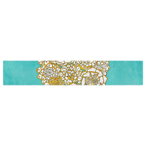 "Pom Graphic Design ""Bohemian Succulents II"" Teal Gold Floral Table Runner - KESS InHouse  - 1"