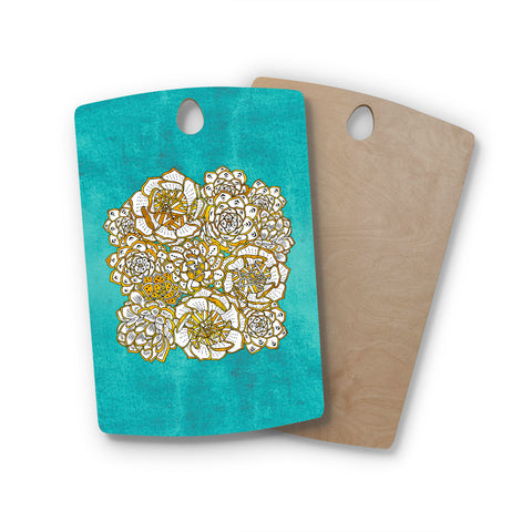 "Pom Graphic Design ""Bohemian Succulents"" Teal Gold Floral Rectangle Wooden Cutting Board"