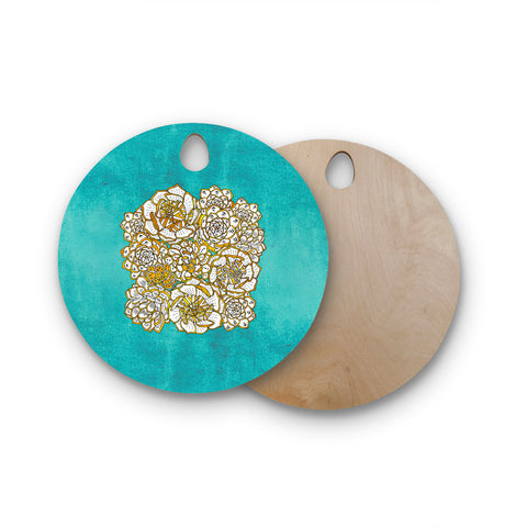 "Pom Graphic Design ""Bohemian Succulents"" Teal Gold Floral Round Wooden Cutting Board"