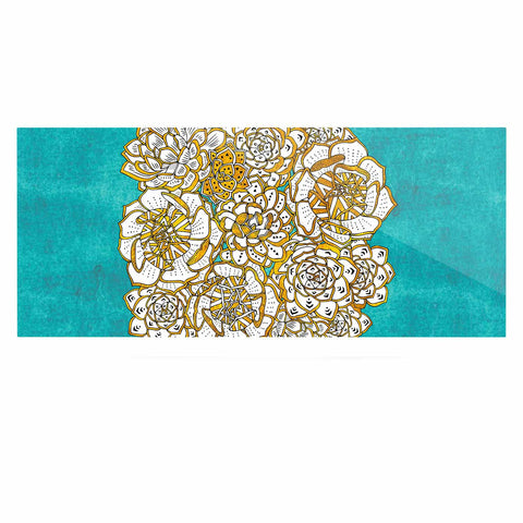 "Pom Graphic Design ""Bohemian Succulents II"" Teal Gold Floral Luxe Rectangle Panel - KESS InHouse  - 1"