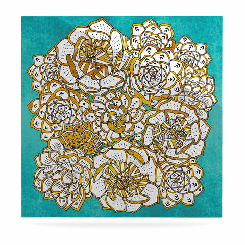 "Pom Graphic Design ""Bohemian Succulents II"" Teal Gold Floral Luxe Square Panel - KESS InHouse  - 1"