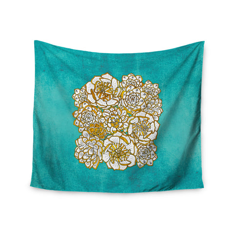 "Pom Graphic Design ""Bohemian Succulents II"" Teal Gold Floral Wall Tapestry - KESS InHouse  - 1"