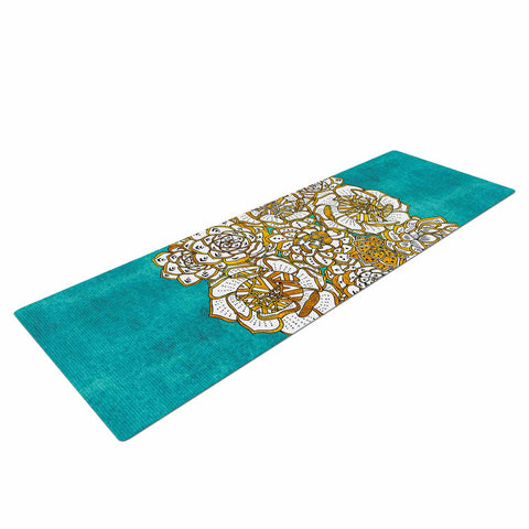 "Pom Graphic Design ""Bohemian Succulents II"" Teal Gold Floral Yoga Mat - KESS InHouse  - 1"