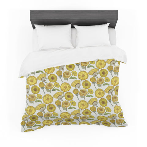 "Pom Graphic Design ""Calendula Flowers"" -Tags Featherweight Duvet Cover - KESS InHouse  - 1"