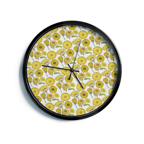 "Pom Graphic Design ""Calendula Flowers"" Yellow White Floral Modern Wall Clock"