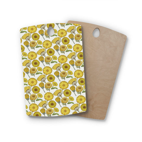 "Pom Graphic Design ""Calendula Flowers"" Yellow White Floral Rectangle Wooden Cutting Board"