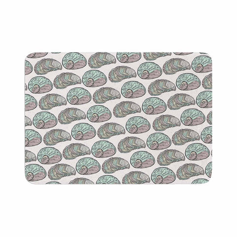 "Pom Graphic Design ""Retro Sea Shells"" Black White Nautical Memory Foam Bath Mat"