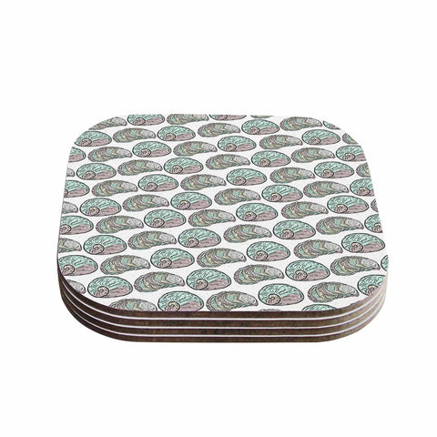 "Pom Graphic Design ""Retro Sea Shells"" Black White Nautical Coasters (Set of 4)"