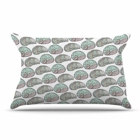 "Pom Graphic Design ""Retro Sea Shells"" Black White Nautical Pillow Sham - KESS InHouse  - 1"