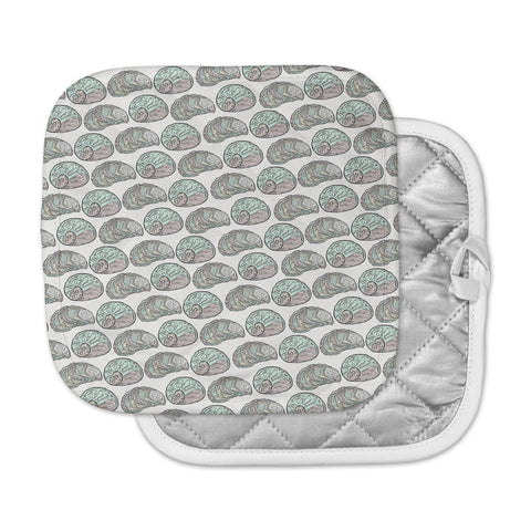 "Pom Graphic Design ""Retro Sea Shells"" Black White Nautical Pot Holder"