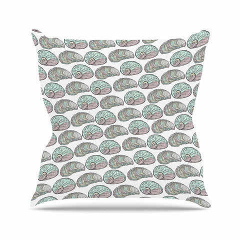 "Pom Graphic Design ""Retro Sea Shells"" Black White Nautical Throw Pillow"