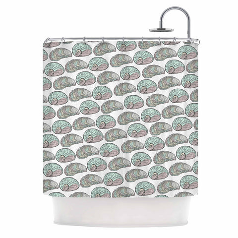 "Pom Graphic Design ""Retro Sea Shells"" Black White Nautical Shower Curtain - KESS InHouse"