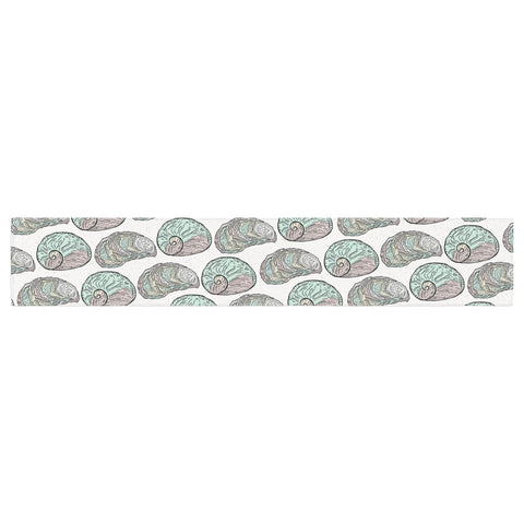 "Pom Graphic Design ""Retro Sea Shells"" Black White Nautical Table Runner"