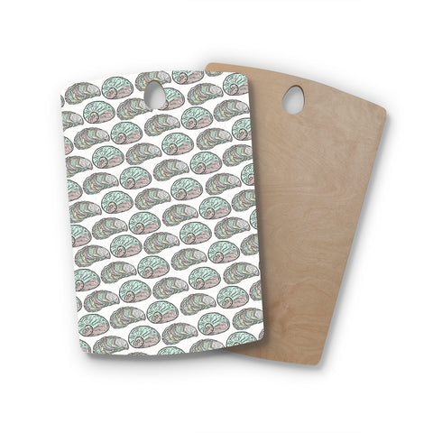 "Pom Graphic Design ""Retro Sea Shells"" Black White Nautical Rectangle Wooden Cutting Board"