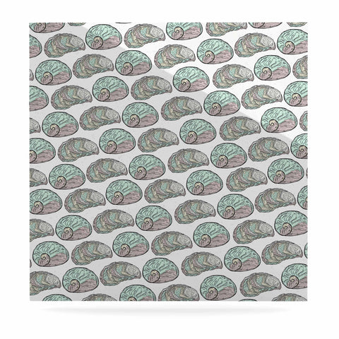 "Pom Graphic Design ""Retro Sea Shells"" Black White Nautical Luxe Square Panel - KESS InHouse  - 1"