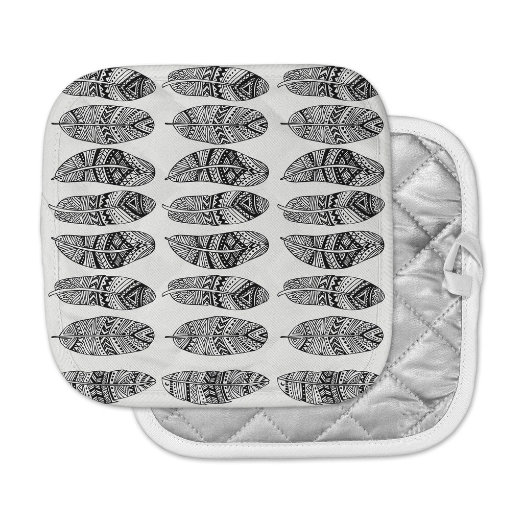 "Pom Graphic Design ""Wild Feathers"" Black Illustration Pot Holder"