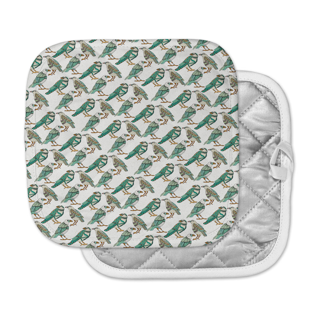 "Pom Graphic Design ""Hey Little Birds"" Black Teal Illustration Pot Holder"