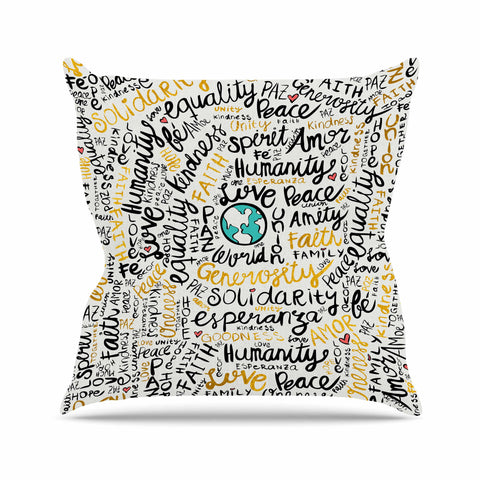 "Pom Graphic Design ""Positive Messages Gold"" Black Gold Illustration Throw Pillow"