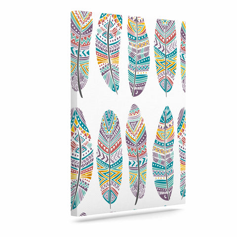 "Pom Graphic Design ""Happy Feathers"" Teal Gold Tribal Illustration Canvas Art"