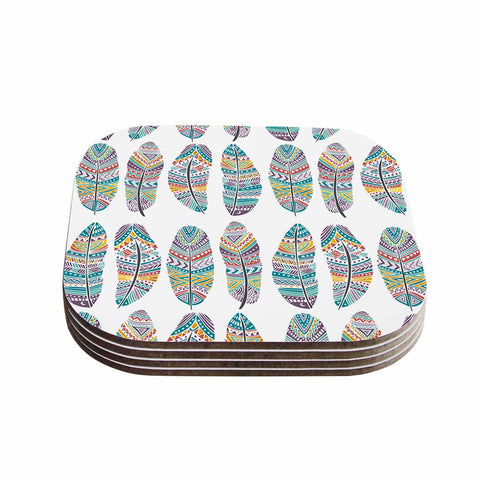 "Pom Graphic Design ""Happy Feathers"" Teal Gold Tribal Illustration Coasters (Set of 4)"