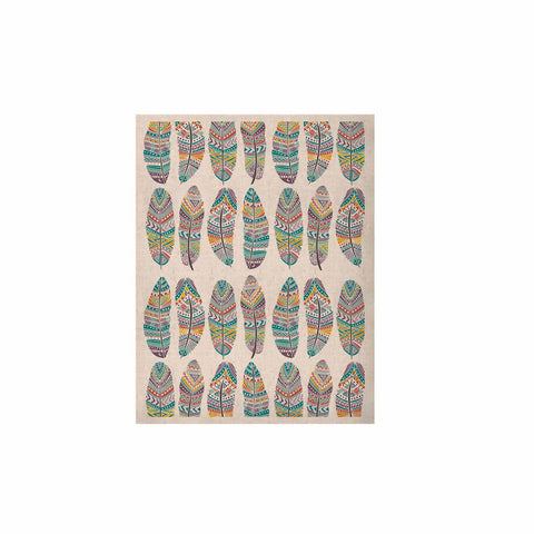 "Pom Graphic Design ""Happy Feathers"" Teal Gold Tribal Illustration KESS Naturals Canvas (Frame not Included)"