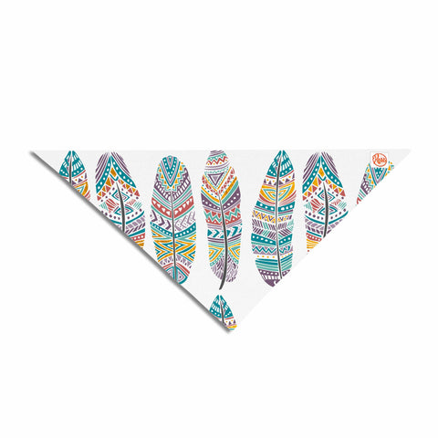 "Pom Graphic Design ""Happy Feathers"" Teal Gold Tribal Illustration Pet Bandana"