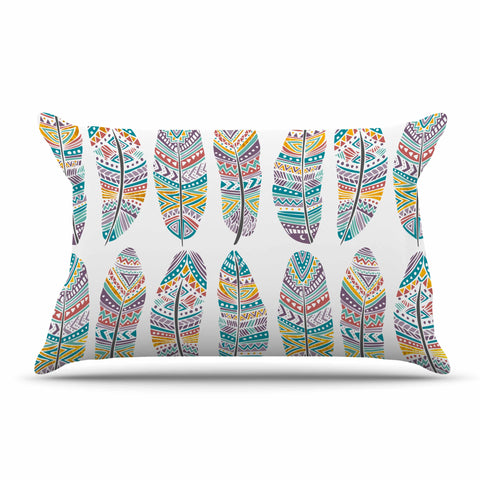 "Pom Graphic Design ""Happy Feathers"" Teal Gold Tribal Illustration Pillow Sham"