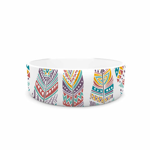 "Pom Graphic Design ""Happy Feathers"" Teal Gold Tribal Illustration Pet Bowl"