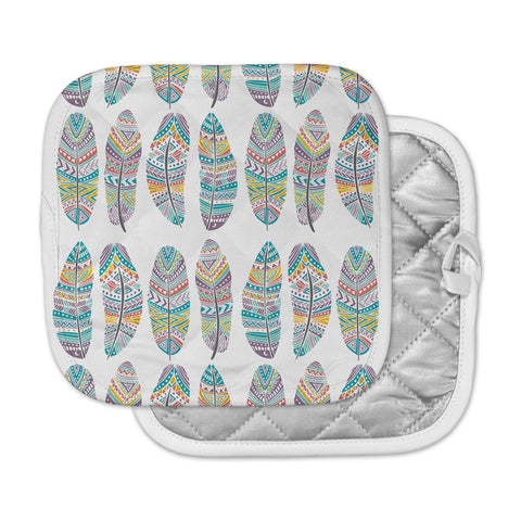 "Pom Graphic Design ""Happy Feathers"" Teal Gold Tribal Illustration Pot Holder"