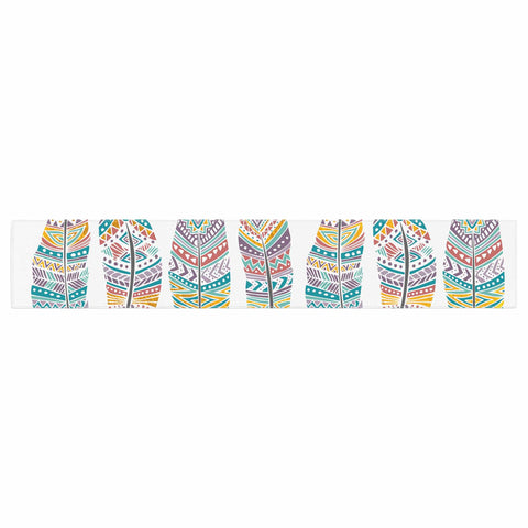 "Pom Graphic Design ""Happy Feathers"" Teal Gold Tribal Illustration Table Runner"