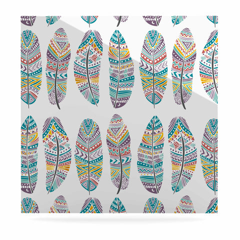 "Pom Graphic Design ""Happy Feathers"" Teal Gold Tribal Illustration Luxe Square Panel"