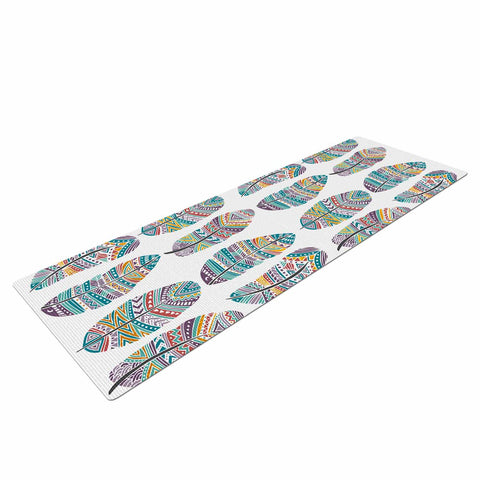 "Pom Graphic Design ""Happy Feathers"" Teal Gold Tribal Illustration Yoga Mat"