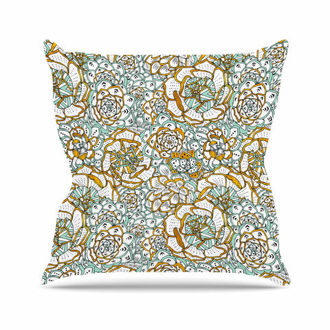 "Pom Graphic Design ""Succulents Paradise"" Black Gold Vintage Illustration Outdoor Throw Pillow"