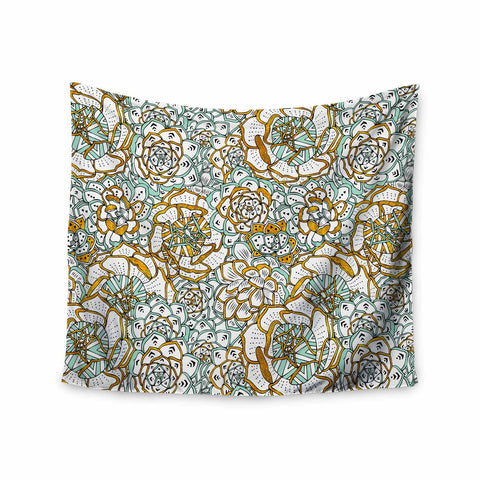 "Pom Graphic Design ""Succulents Paradise"" Black Gold Vintage Illustration Wall Tapestry - KESS InHouse  - 1"