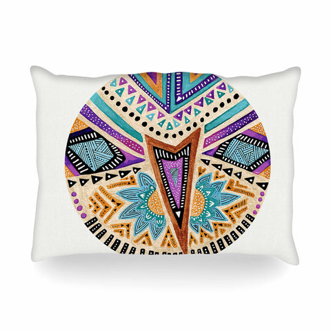 "Pom Graphic Design ""Multicultural Icon"" Teal Gold Abstract Geometric Oblong Pillow"